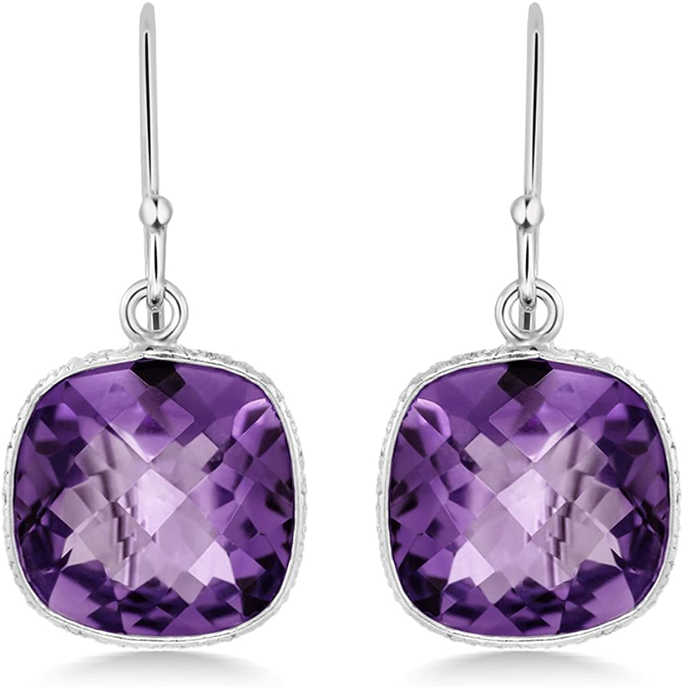 925 Sterling Silver Orichid Jewelry Round Shape Purple Amethyst Stone Dangling Earrings For Women A February Birthstone Gemstone Bridal Jewelry A Birthday//Anniversary Gifts For Wife Or Mom