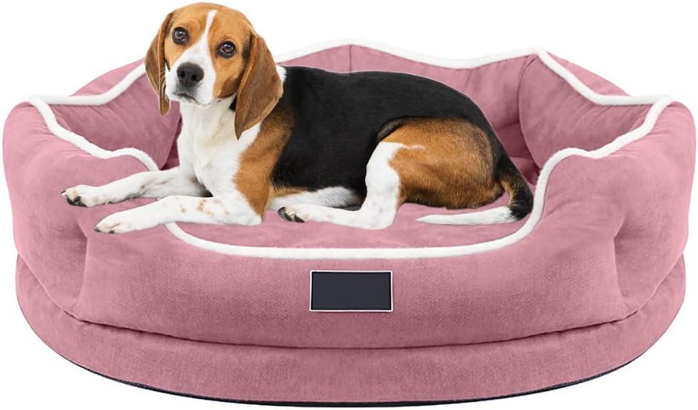 Suave Cama para Perro De Espuma Viscoelástica Cama Sofá Redondo Autocalentable para Mascotas Almohadas Ortopédico para Perros con Funda Extraíble para Perros Y Gatos Pequeños Medianos