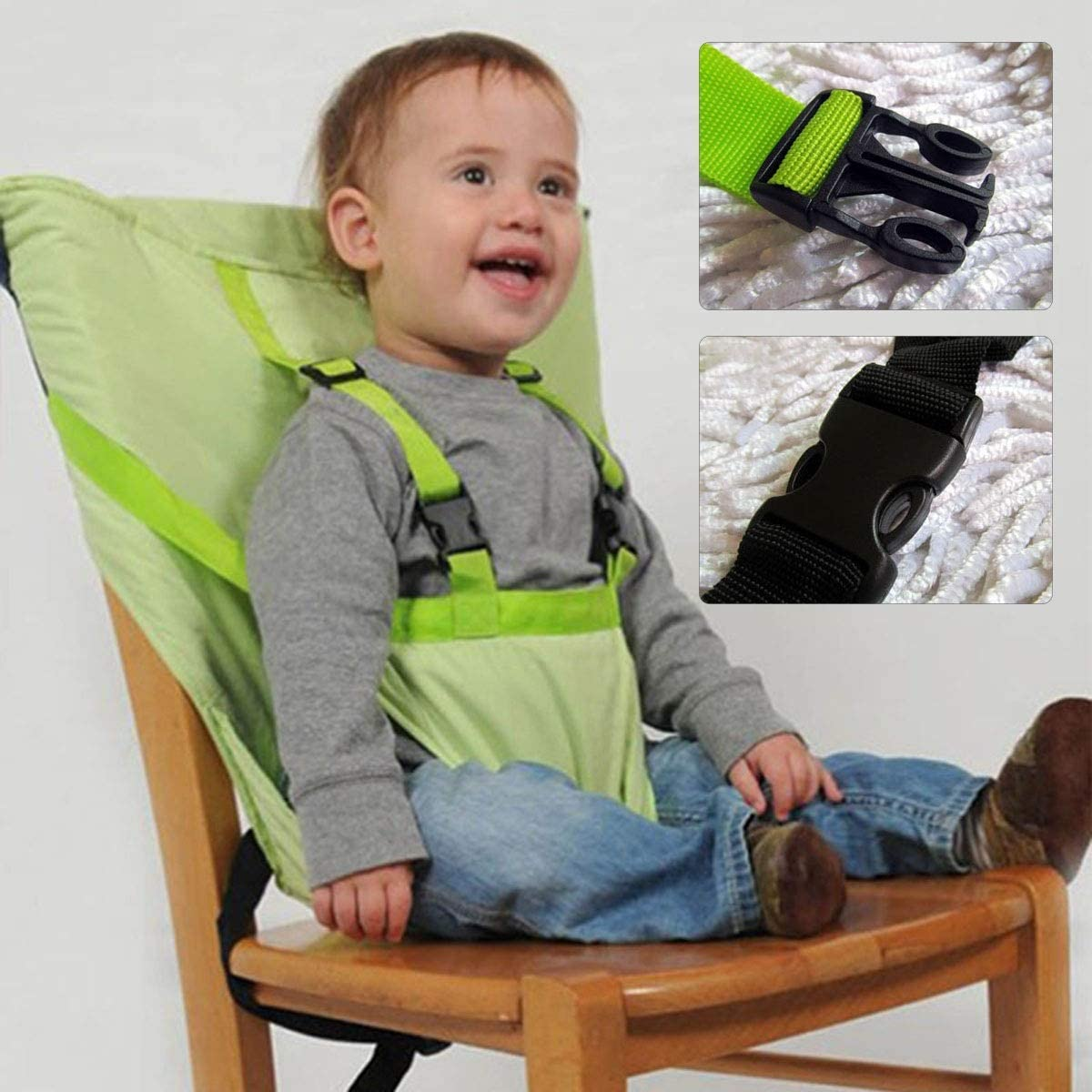 Color : Orange Foldable Baby Feeding seat Safety Belt Infant High Chair Cover Safety Harness for Travel Dinning