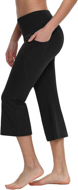 XXL TAIBID Womens High Waist Crop Yoga Pants Side Pockets Capri Tummy Control Workout Running Leggings Size S