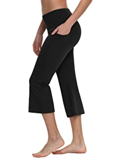 806a6e9bbb9d Baleaf Women's Yoga Capri Pants Flare Workout Bootleg Crop Leggings