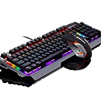 Teclados para gamers Juegos de teclado mecánicos Teclado Oficina Internet Bar Juegos Juego Ordenador portátil Panel de aluminio Retroiluminación Teclado ...