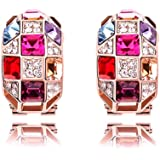 YELLOW CHIMES Luxury Princess Multicolor Swiss AAA Zircons 18K Rose Gold Plated Pendant Bracelet Earrings Ring for Women