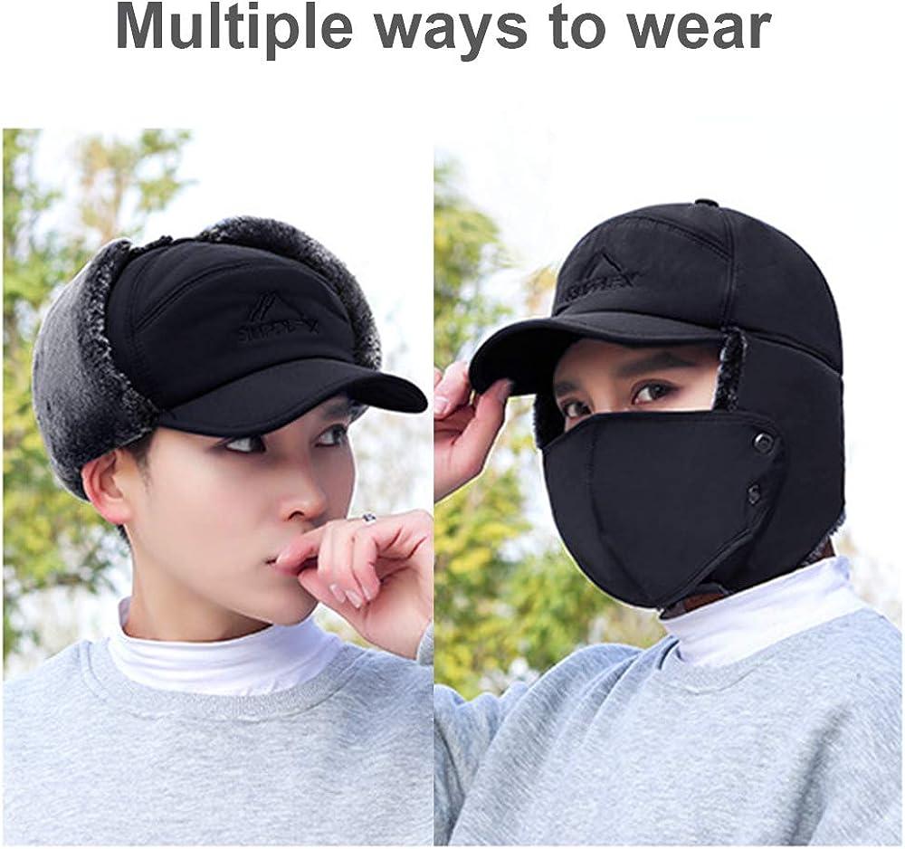 Autotipps Unisex Trapper Bomber Hat Ear Flap Full Face Mask Windproof Winter Warm Cap for Men Women Baseball Cap Cycling Motorcycle Snow Ski Hat Headwear