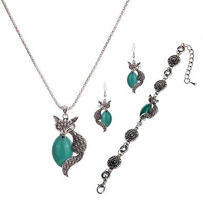 c71d48d2ca51 Yazilind Tibetano de la placa de plata verde Fox palomitas pulsera de  cadena pendientes del collar de la turquesa por un conjunto de joyería de  las mujeres  ...