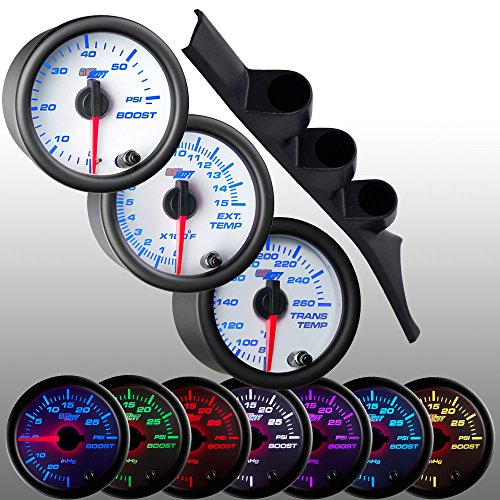 GlowShift 1986-1993 Dodge Ram Cummins Diesel Package + White 7 Color 60 Boost, 1500 Pyrometer EGT & Trans Temp Gauges
