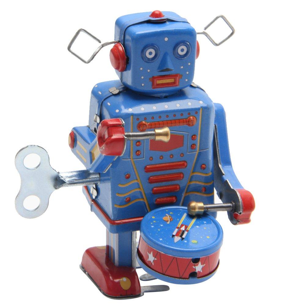 Lamdoo Retro-Uhrwerk zum Aufziehen aus Metall mit Roboter-Spielzeug, Vintage-Stil, Sammlerstück für Kinder