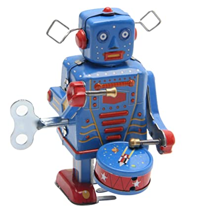 Fang sky Retro Clockwork Wind Up Metal Walking Robot Toy Vintage  Collectible Kids Gift