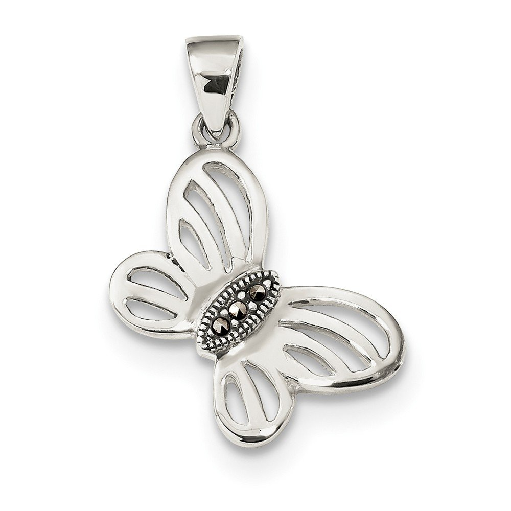 Sterling Silver Antiqued Marcasite Center Butterfly Pendant Solid 12 mm 28 mm Themed Pendants /& Charms Jewelry