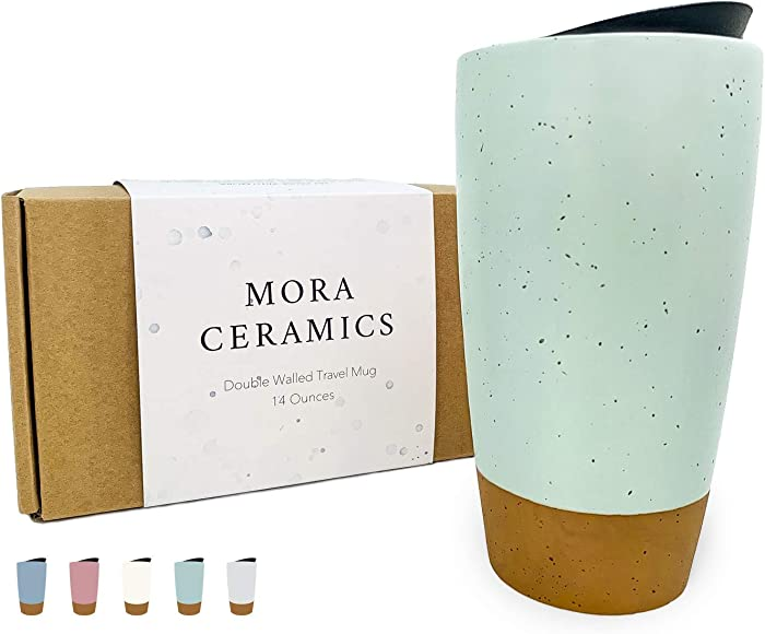 Mora Double Wall Ceramic Travel Coffee Mug with Lid, 14 oz, Portable, Microwave, Dishwasher Safe, Insulated Reusable Tall Cup, Splash Proof Spinning Lid - To Go Tumbler for Car Cup Holder, Seafoam