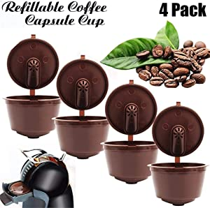 JETTINGBUY 4Pcs Refillable Coffee Capsules Cup, Durable Reusable Coffee Pods Filter Cup for Dolce Gusto, Compatible