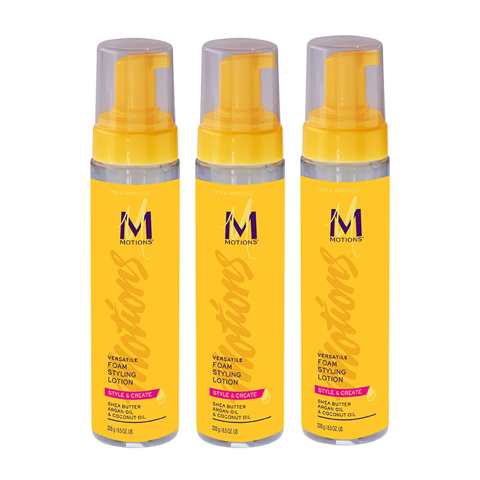 Motions Style and Create Versatile Foam Styling Lotion (3 Pack) - For Use on All Hair Types, Lightweight Formula, Contains Shea Butter, Argan Oil, Coconut Oil, 8.5 oz by Motions