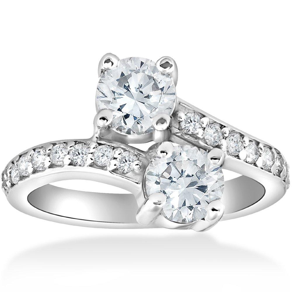 2 Carat Forever Us Two Stone Round Diamond Engagement Ring 14K White Gold