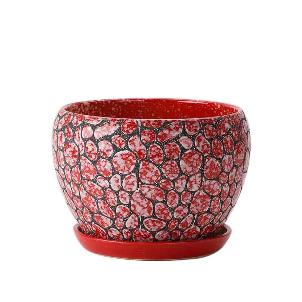 CJH Semplice casa Extra Grande Vaso di Fiori Creativo Interno Soggiorno Ufficio con Vassoio in Ceramica verde Vaso di Fiori Rosso