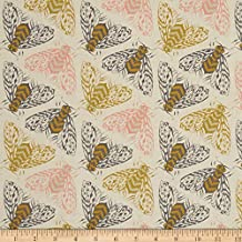 Cotton + Steel Magic Forest Bees Yellow Fabric By The Yard
