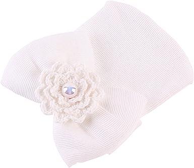 Gorro de algodón para bebé de 0 a 6 meses + tejido a rayas para recién nacido, para bebé o niña, cómodo y cálido, color azul Blanco blanco Talla única: Amazon.es: Ropa