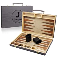Juegoal 15 inch Wooden Backgammon Set, Portable Travel Folding Board Game