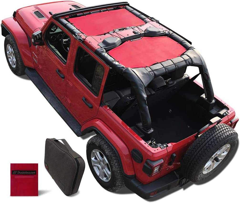 One time Install 10 Years Warranty Black 2018 2019 2020 JL Unlimited 4 Door Cage Mesh Screen Sunshade Shadeidea Jeep Wrangler Sun Shade JLU