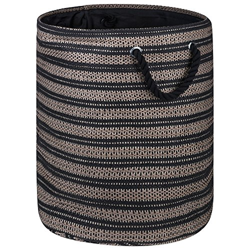"DII Woven Paper Basket or Bin, Collapsible & Convenient Home Organization Solution for Bedroom, Bathroom, Dorm or Laundry (Large Round - 15x20""), Brown & Black Basketweave Woven Basketweave"