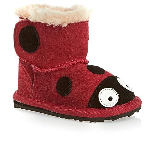 09bd313434e Emu Kids Little Creatures Sheepskin Boots S18+ Red - Ladybird