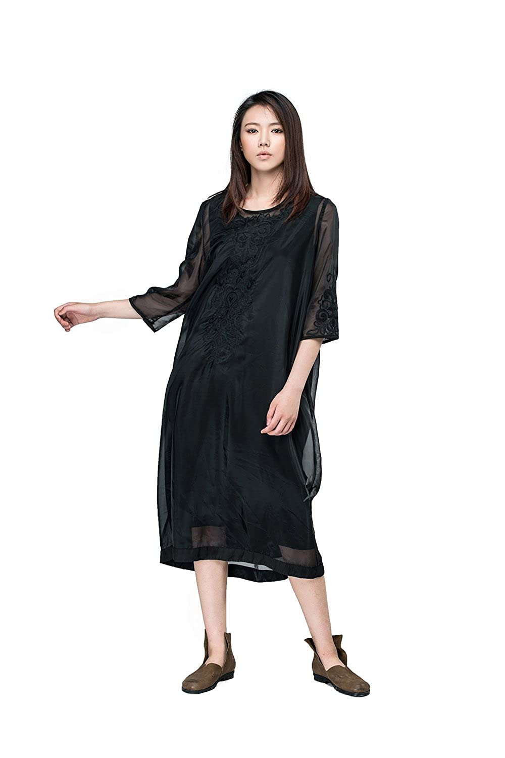 OUTLINE Women's Autumn Lace Embroidered Three Quarter Sleeve Black Shift Dress