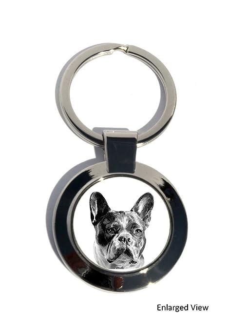 Bulldog francés perro Redondo Llavero Cromado, regalo ...