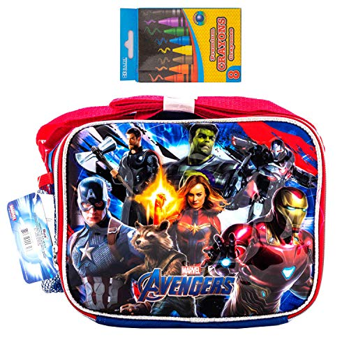 Avengers EndGame Marvel Super Hero Lunchbox Travel Case Everyday Bag with Crayon (Lunch Box) ()