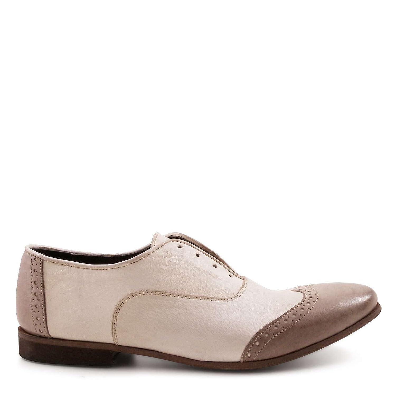 LEONARDO SHOES Mujer 24237DPAPUALINO Beige Cuero De Charol Zapatos De Cordones 35 IT - Tamaño de la Marca 35