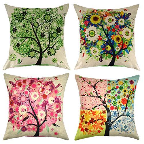 Set of 4 Four Seasons Tree Linen Throw Pillow Case Cushion Cover Outdoor Sofa Home Pillowcase 20x20 Inch