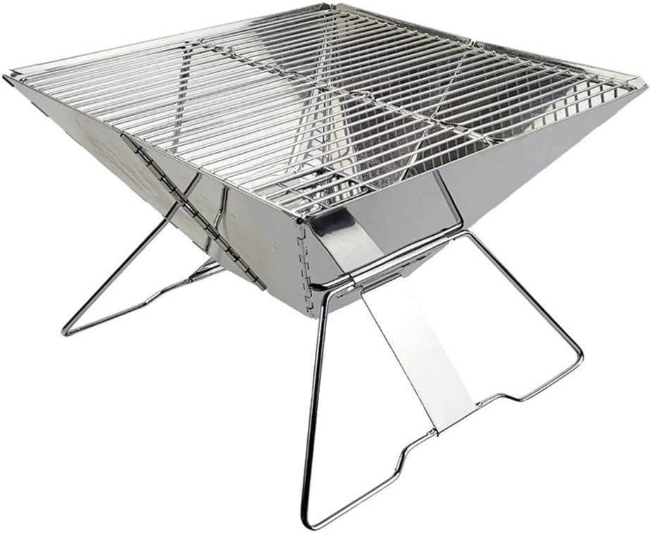 SADDPA Plegable portátil de Acero Inoxidable de carbón de Barbacoa Parrilla con Lleva el Bolso for Acampar al Aire Libre (Color : Silver)
