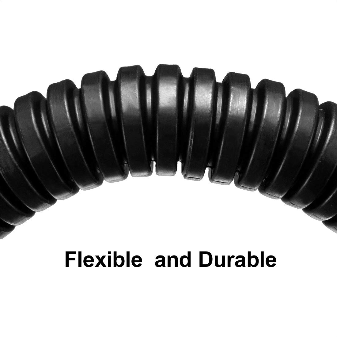 sourcing map Tube ondul/é Tubes PP Conduit flexible Tuyau Flexible 16mmx20mm Noir 1.6m Long