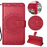 Stysen Wallet Case for Huawei P10 Lite,Floral Case for Huawei P10 Lite,Pretty Elegant Embossed Totem Flower Pattern Red Bookstyle Magnetic Closure Pu Leather Wallet Flip Case Cover with Wrist Strap and Stand Function for Huawei P10 Lite-Totem Flower,Red