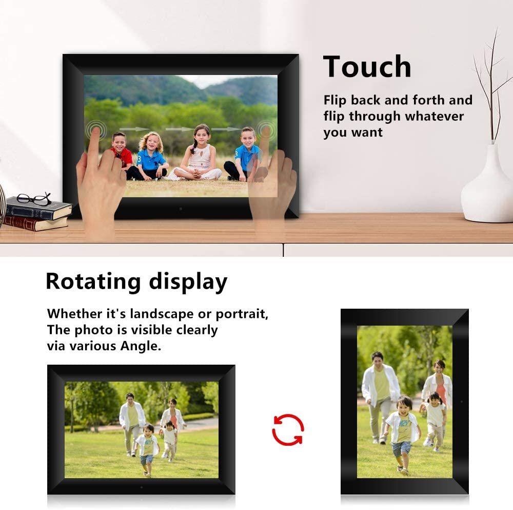 Docooler P100 WiFi Digital Picture Frame 10.1-inch 16GB Smart Electronics Photo Frame APP Control Send Photos Touch Screen 800x1280 IPS LCD Panel