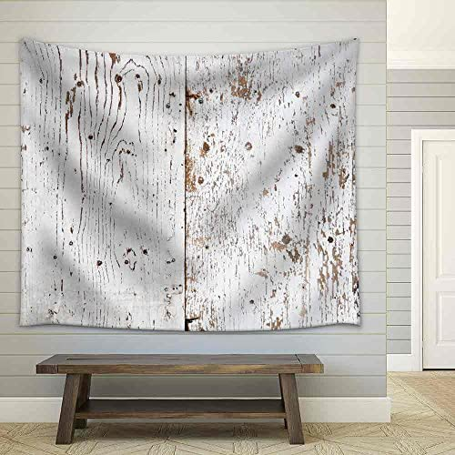 White Painted and Peeled Obsolete Wooden Texture Fabric Wall