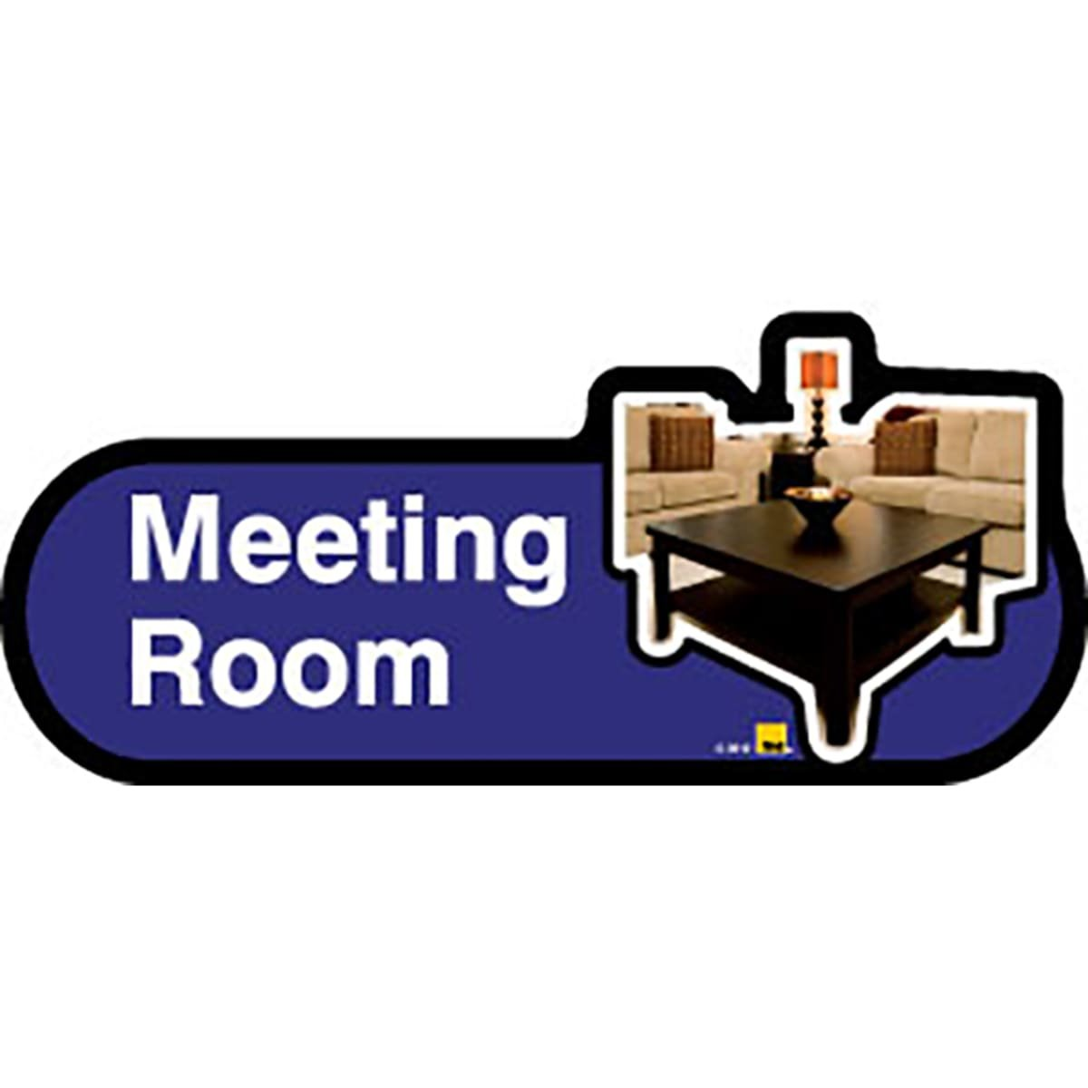 Dementia Friendly Meeting Room - Blue Sign -400mm Wide with Screw Fix by Dementia Friendly