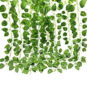 GoFriend 12 Strands(83 Feet) Artificial Ivy Leaf Garland Fake Hanging Vine Plant Greenery Leaves Garland for Wedding Party Home Garden Office Wall Decor 30
