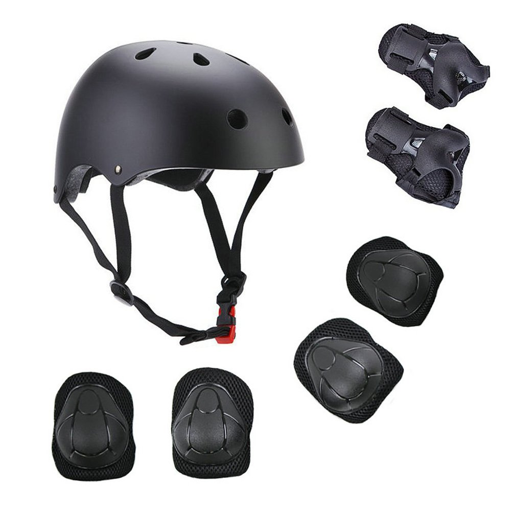 KIKIGOAL Child Multi-Sport Helmet With Knee Pads Elbow Wrist Protection Set for Skateboard Cycling Skate Scooter (black, L)