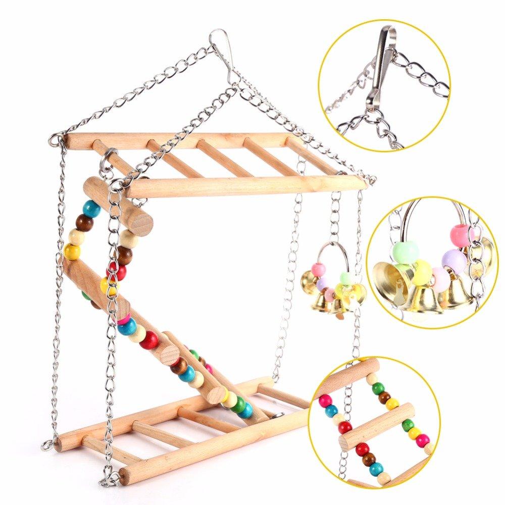 Hamiledyi Bird Swing For Parrot Parakeet Budgie Cockatiel Climbing Ladder Swinging Wood Hanging Toy Bird Toy Ladder Wooden Bridge Swings for Parrots Wooden Suspension Bridge by Hamiledyi (Image #3)