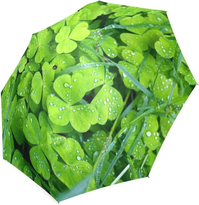 St.Patricks Day Gift Irish Shamrock Pattern Compact Foldable Rainproof Windproof Travel Umbrella