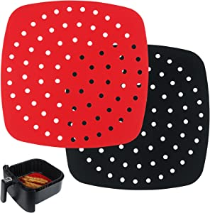 Reusable Air Fryer Liners, 2 Pack Non-Stick 8.5 Inch Silicone Square Air Fryer Liner Mats for Air Fryer Basket and More