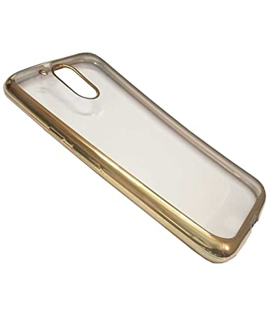 wholesale dealer c6dca 1030d Moto G4 Plus Golden Edge TPU Transparent Back Cover: Amazon.in ...