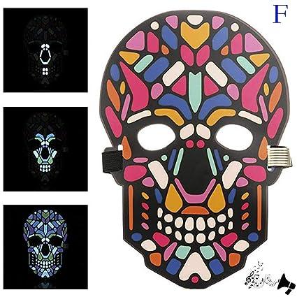 LED Halloween Full Face Masks, Elevin(TM) Halloween Sound Reactive Full Face LED