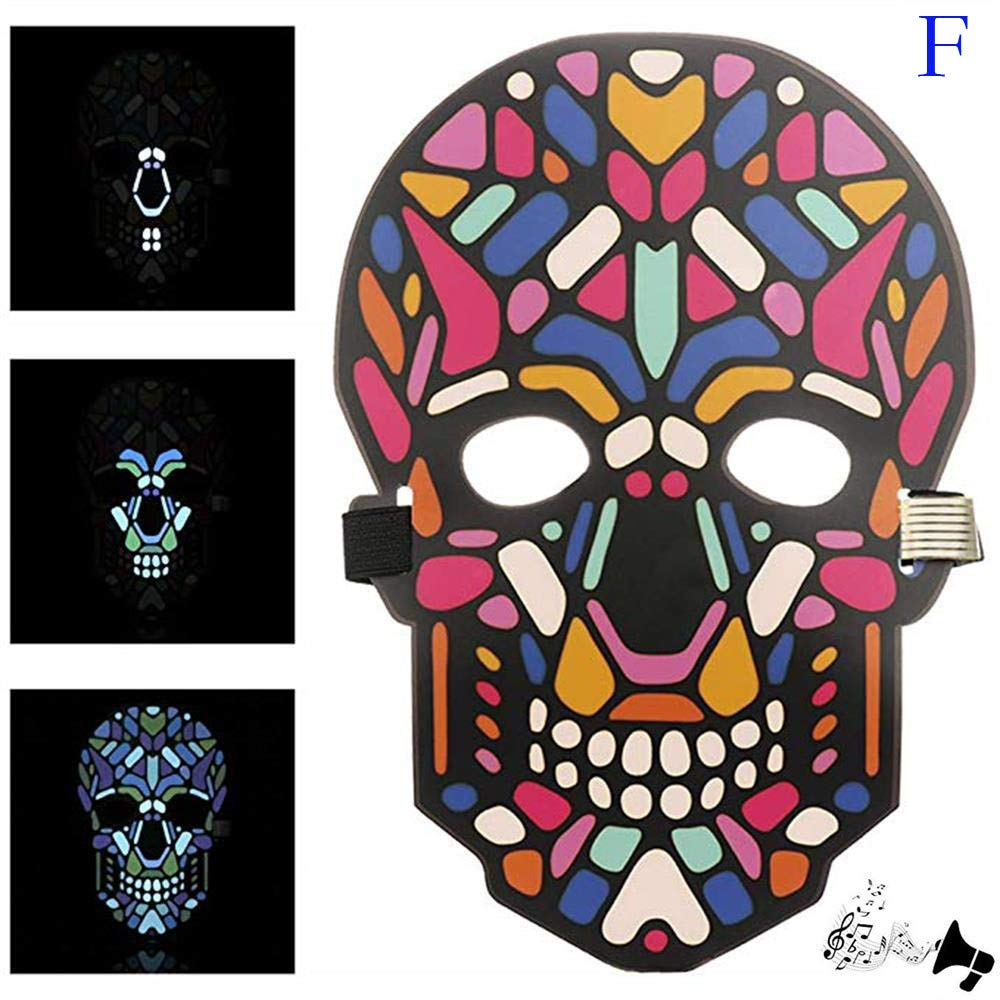 Unpara Halloween LED Mask Party Version Sound Reactive Dance Rave Light Up Adjustable Mask (E) by Unpara_mask (Image #3)