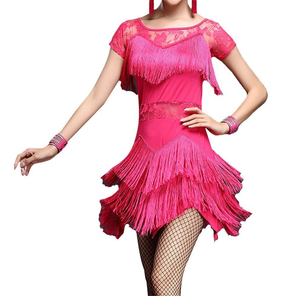 Rose Rouge X-grand MISHUAI Robe de Danse pour Femmes Femmes Fbaguee Glands Flapper Tango Latin Rumba Robe De Danse Manches Courtes Maille Floral Dentelle Ballroom Dancewear Pratice Concurrence Jupe Perforhommece de Danse