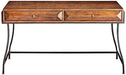 "Uttermost 25735 Edric - 55"" Writing Desk, Rich Walnut/Antique Brass  Finish"