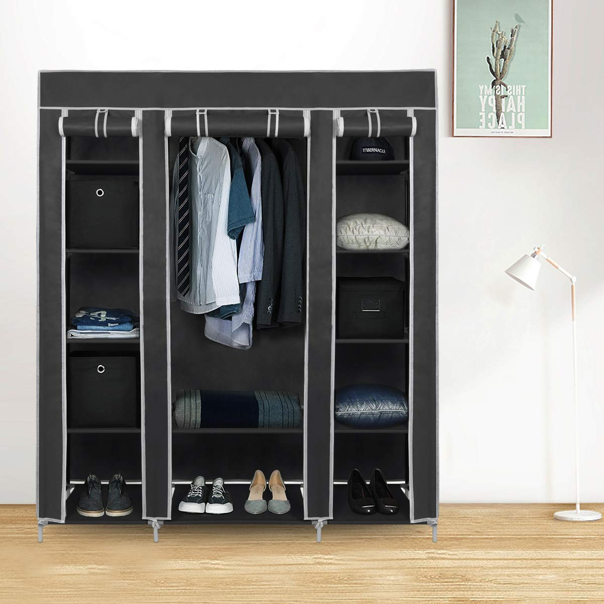 LEMAIJIAJU Canvas Wardrobe Non-Woven Fabric Wardrobe Bedroom Furniture Storage Cupboard for Clothes Hanging Rail Storage Shelves Grey