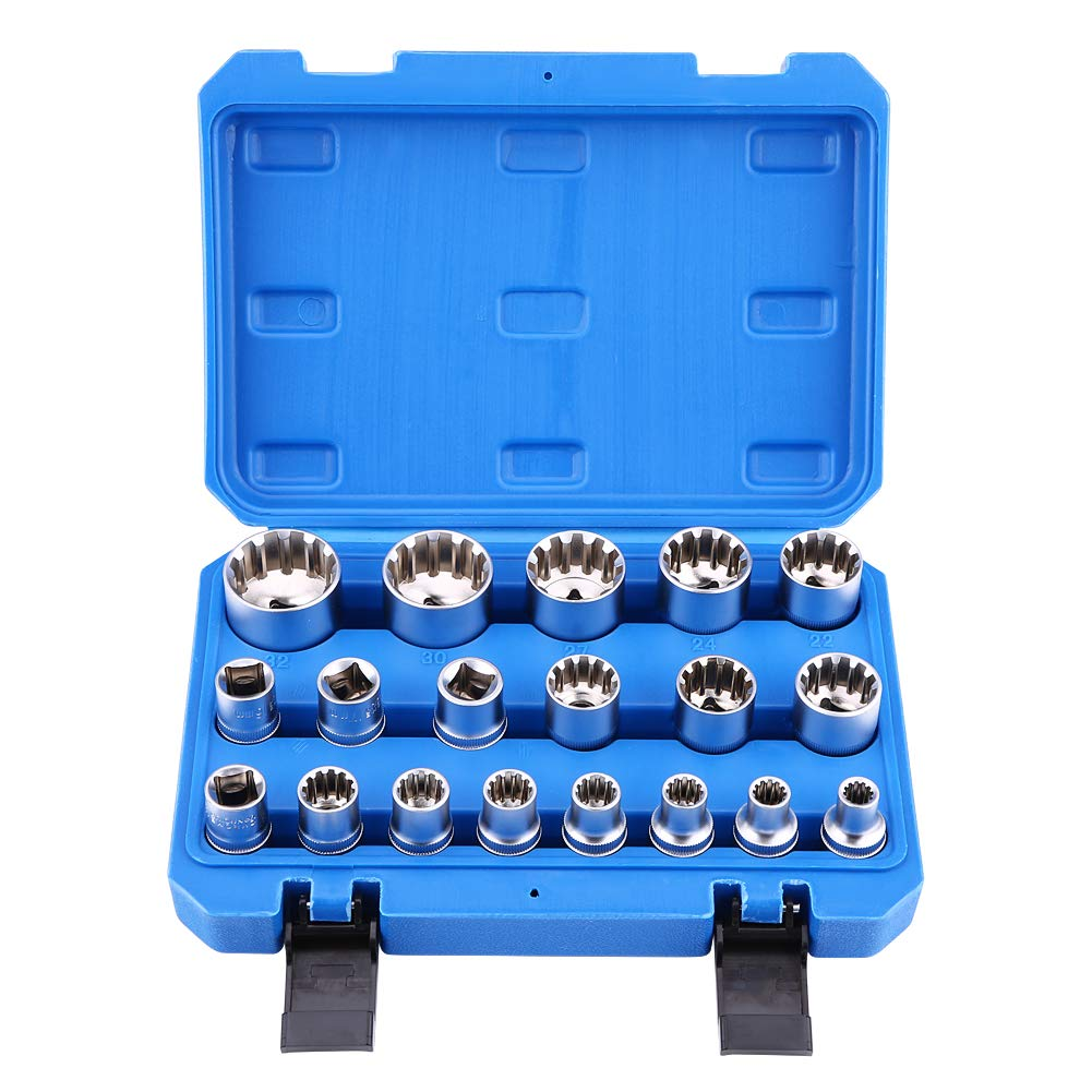 19pcs Hex Bit Socket, Universal 6 12 Point E-Torx Spline Bit Set 1/2 inch Drive Gear Torx Bit Socket with Special Shaped and Metric Inch Sizes Repair Tool