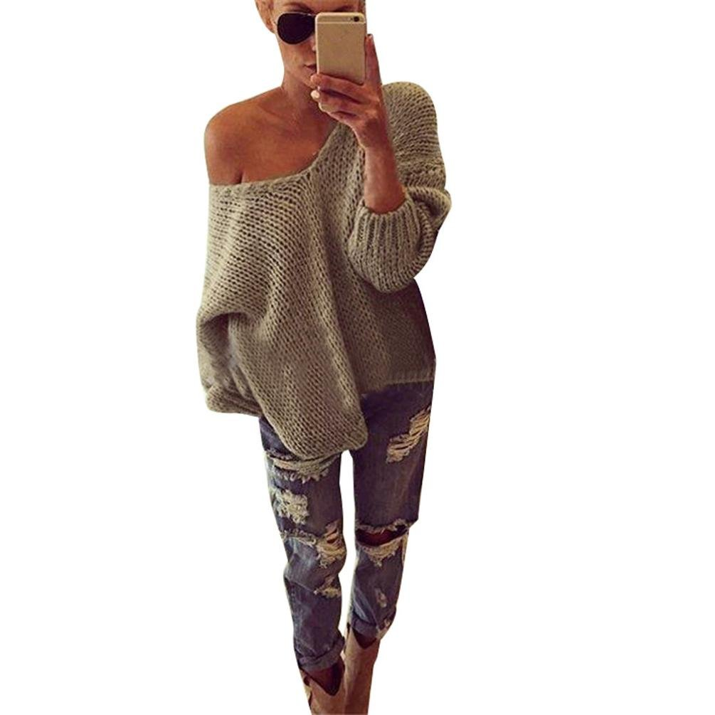 SunWard Women sexy Long Sleeve Off Shoulder Knitted Pullover Loose Sweater Jumper Tops Knitwear (M)