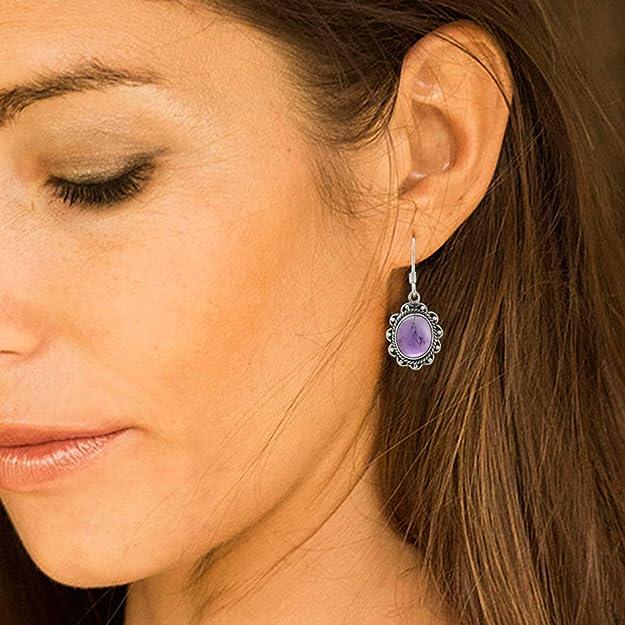 Small Amazonite Drops Oxidized Gemstone Earrings Ready Made Oxidized Silver Drop Earrings