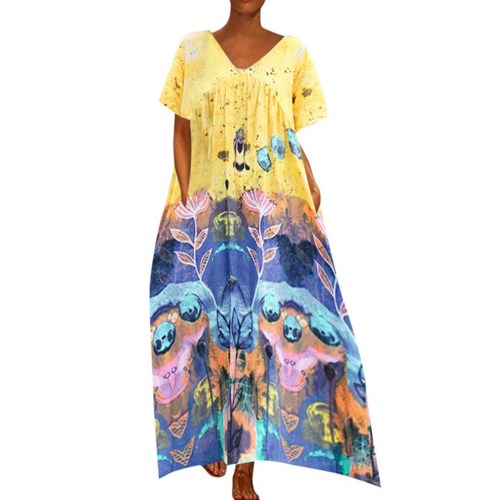 Yellsong Women Cotton Linen V Neck Short Sleeve Loose Print Long Maxi Dress Princess in The Forest Womens Boho Midi Dress Folk Custom Floral Print Summer Maxi Dresses Cool Clothes